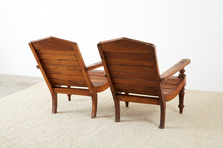 Pair of British Colonial Teak Plantation Chairs For Sale 11