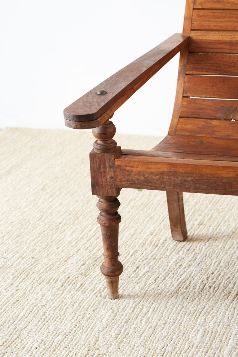 Pair of British Colonial Teak Plantation Chairs For Sale 1