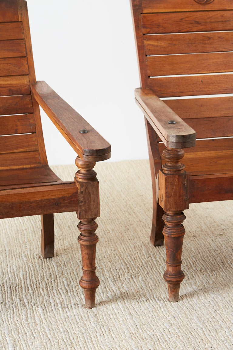 Pair of British Colonial Teak Plantation Chairs For Sale 2