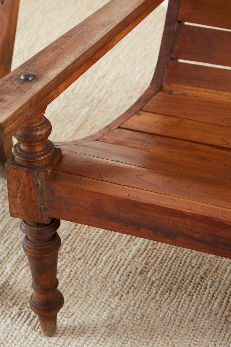 Pair of British Colonial Teak Plantation Chairs For Sale 3