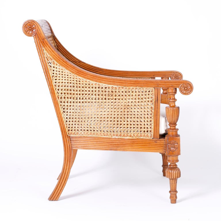 Indian Pair of British Colonial Teak Wood Armchairs For Sale