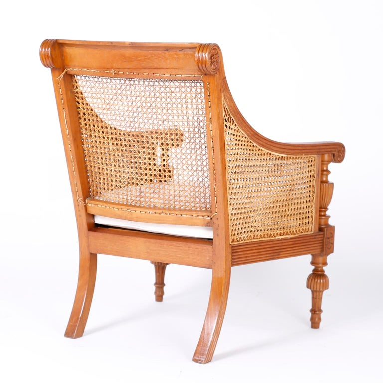Pair of British Colonial Teak Wood Armchairs In Good Condition For Sale In Palm Beach, FL