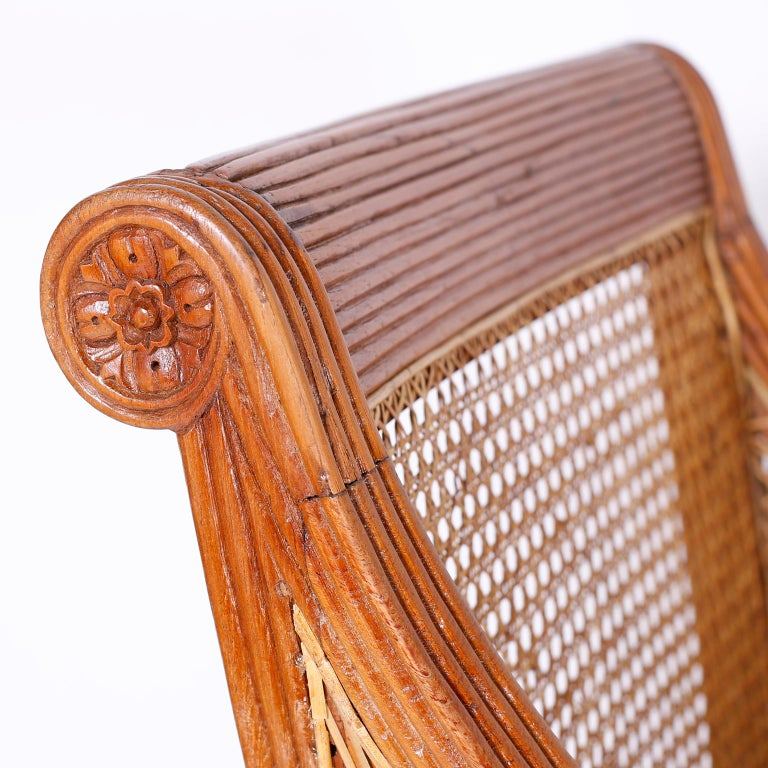 19th Century Pair of British Colonial Teak Wood Armchairs For Sale
