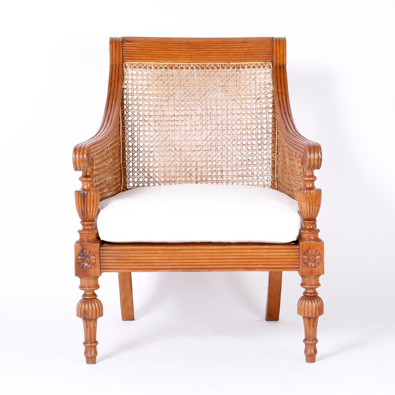 Cane Pair of British Colonial Teak Wood Armchairs For Sale