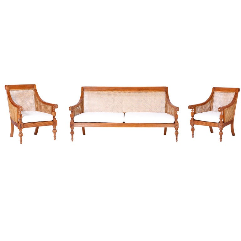 Pair of British Colonial Teak Wood Armchairs For Sale 2