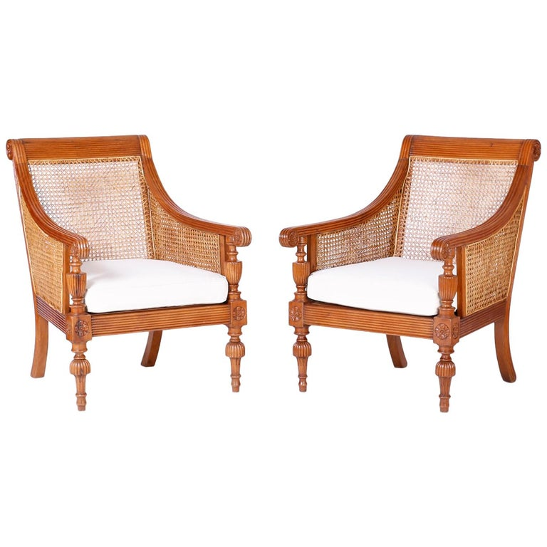 Pair of British Colonial Teak Wood Armchairs For Sale