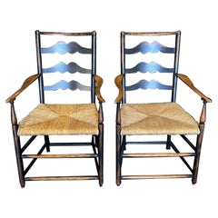 Pair of British Georgian Style Ladderback Carved Armchairs with Rush Seats