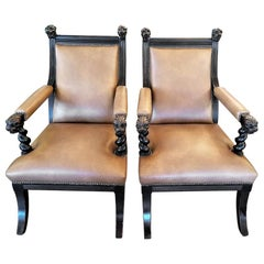 Pair of British Library Chairs with Lions Heads