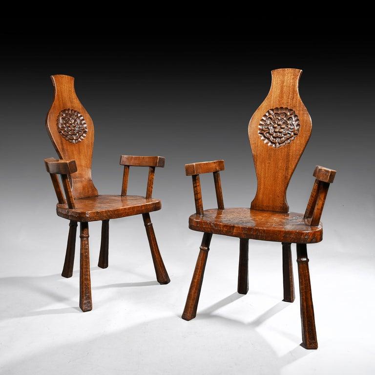 Primitive Pair of British Oak and Pollard Oak Jack Grimble Chairs For Sale