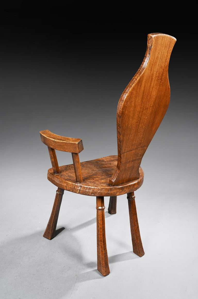 Pair of British Oak and Pollard Oak Jack Grimble Chairs In Good Condition For Sale In Benington, Herts