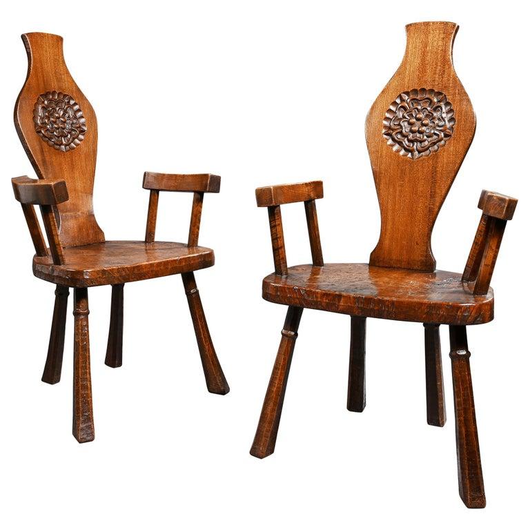 Pair of British Oak and Pollard Oak Jack Grimble Chairs For Sale