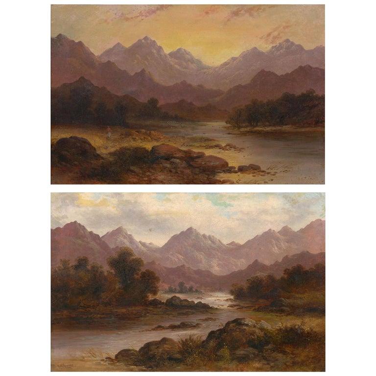 Pair of British School '19th Century' Scottish Highland Landscape Paintings For Sale