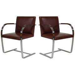 Pair of 'Brno' Chairs by Mies van der Rohe for Knoll International, Signed