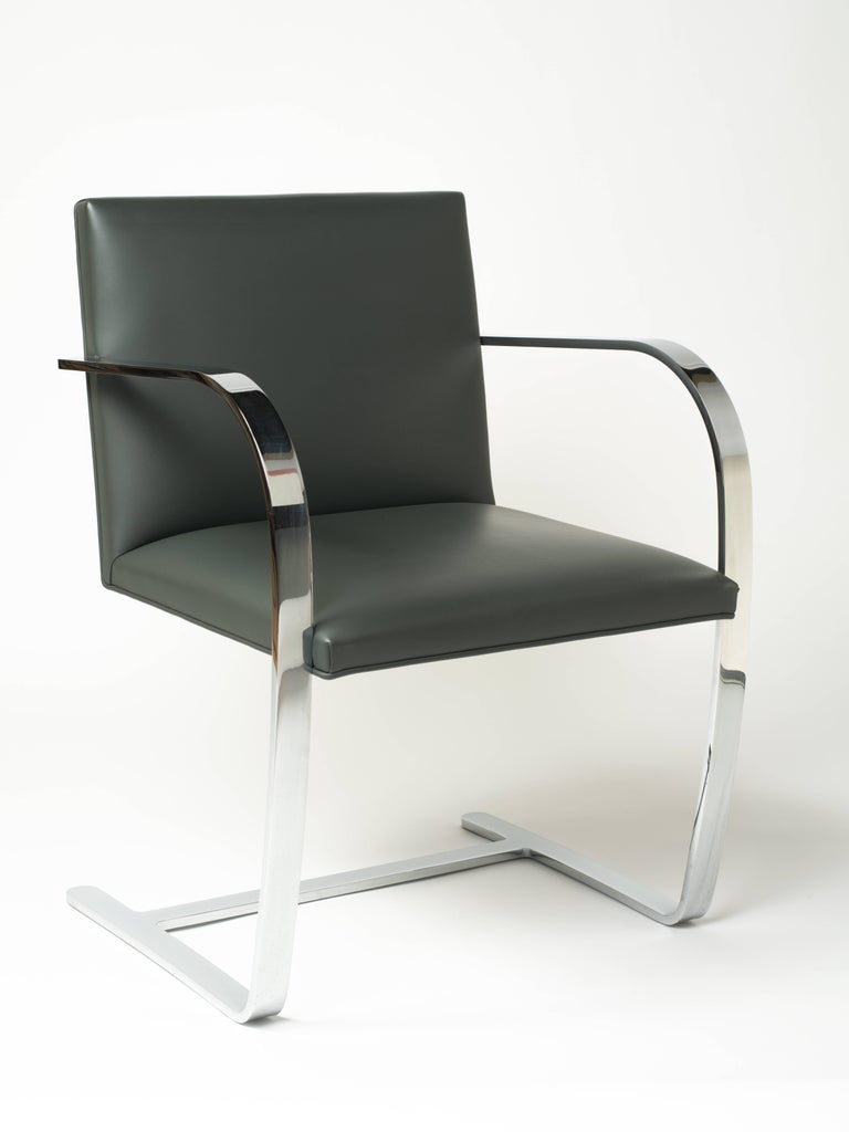 Mid-Century Modern Pair of Brno Chairs in Elephant Grey Leather by Knoll Studio