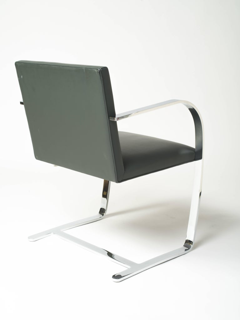 American Pair of Brno Chairs in Elephant Grey Leather by Knoll Studio