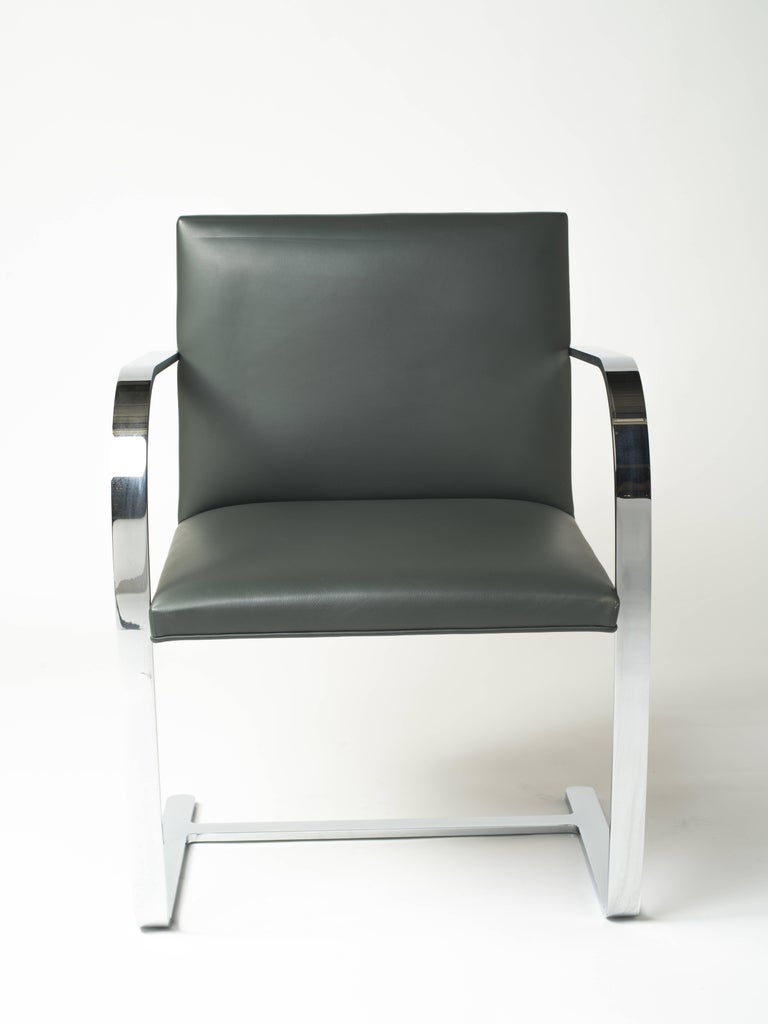 Polished Pair of Brno Chairs in Elephant Grey Leather by Knoll Studio