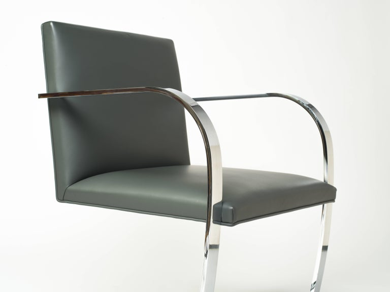Pair of Brno Chairs in Elephant Grey Leather by Knoll Studio In Excellent Condition In Fort Lauderdale, FL