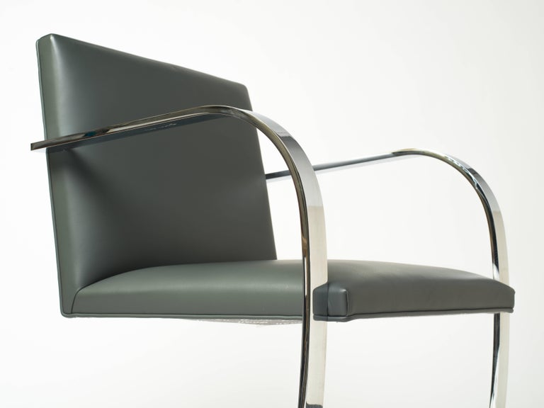 Mid-20th Century Pair of Brno Chairs in Elephant Grey Leather by Knoll Studio