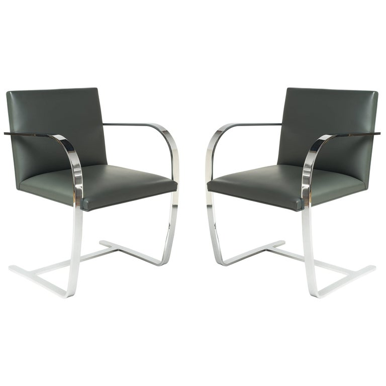 Pair of Brno Chairs in Elephant Grey Leather by Knoll Studio
