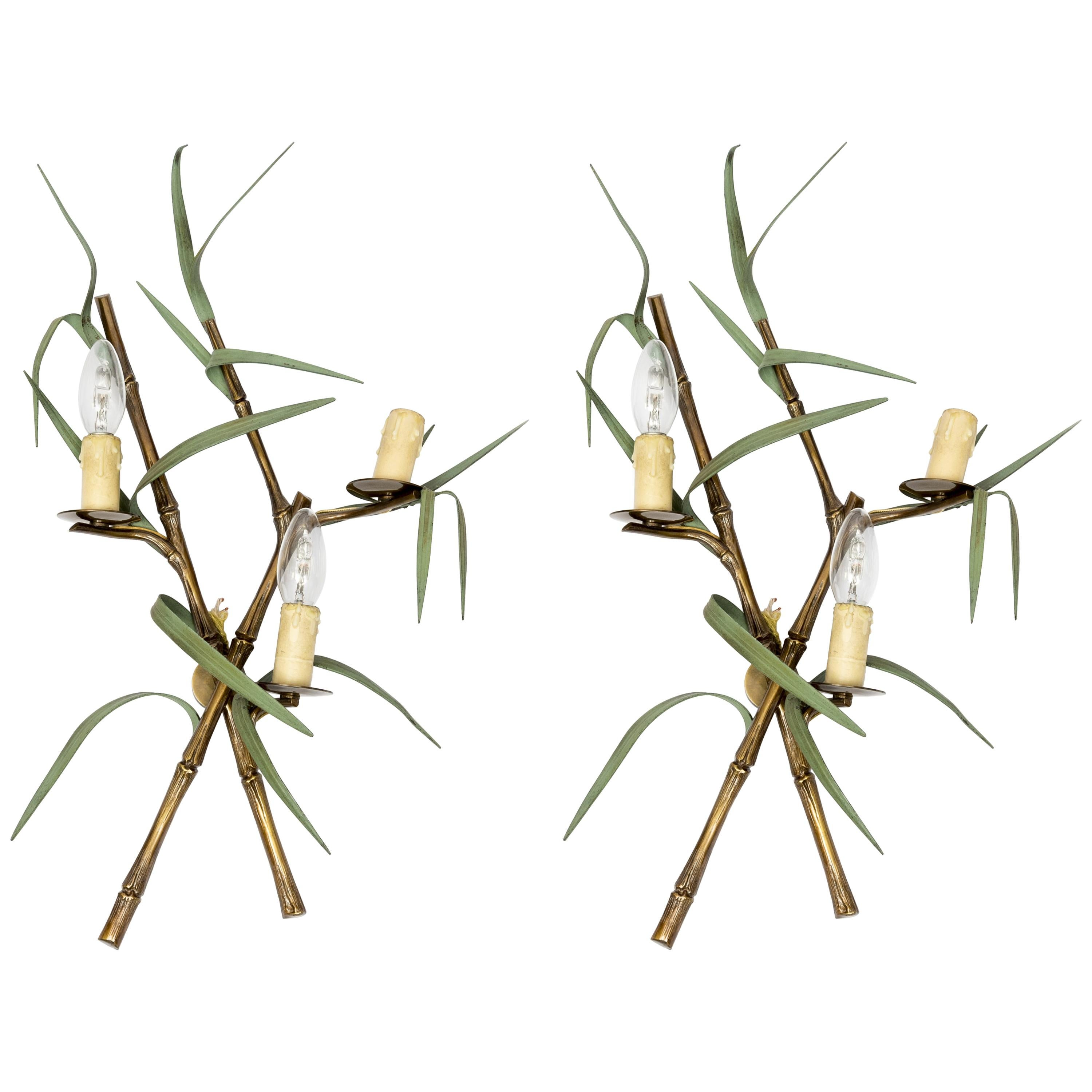 Pair of Bronze 1970s Sconces by Maison Charles