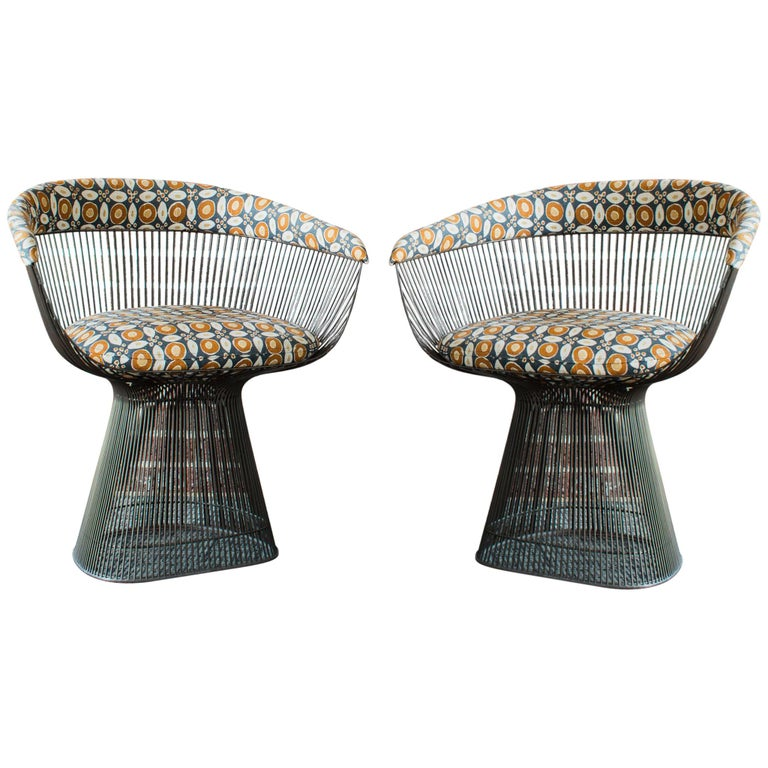 Cool Pair Of Bronze Accent Chairs By Warren Platner For Knoll Gamerscity Chair Design For Home Gamerscityorg
