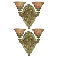 Pair of Bronze & Alabaster Wall Sconces