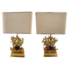 Pair of Bronze Amethyst Lamps by Boeltz, France, 1970s