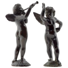 Pair of Bronze Amoretti Angels, Upper Italy, 17th Century