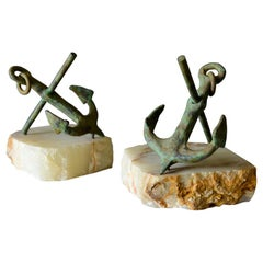 Pair of Bronze Anchor Bookends by Curtis Jere, circa 1970
