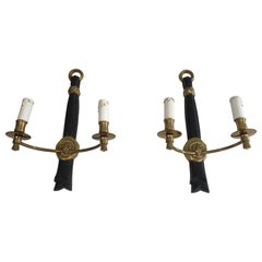 Pair of Bronze and Black Lacquered Sconces with Lion Heads, French, circa 1970