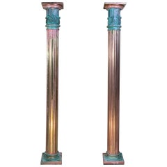 Pair of Bronze and Brass Neoclassical Style Columns