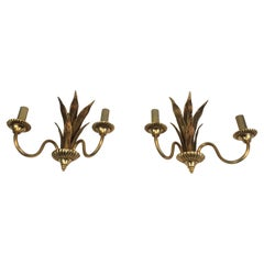 Pair of Bronze and Brass Palm Tree in the Style of Maison Charles