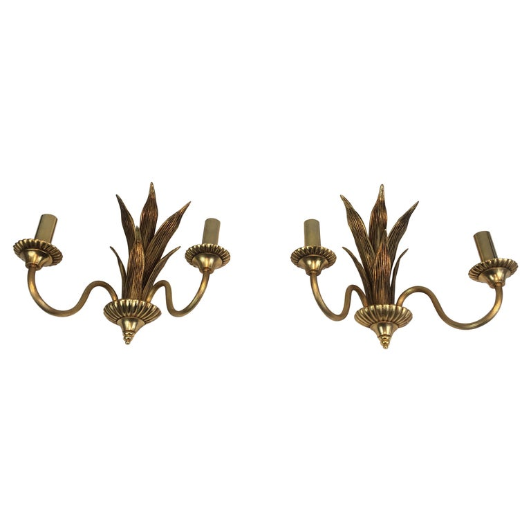 Pair of Bronze and Brass Palm Tree in the Style of Maison Charles For Sale
