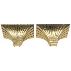 Pair of Bronze and Brass Torchiere Sconces