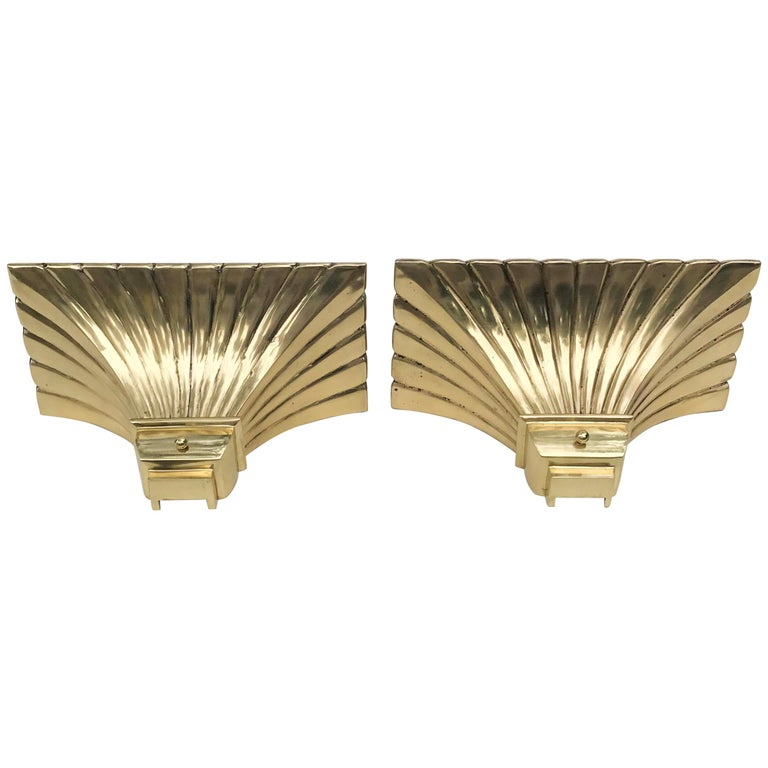 Pair of Bronze and Brass Torchiere Sconces For Sale