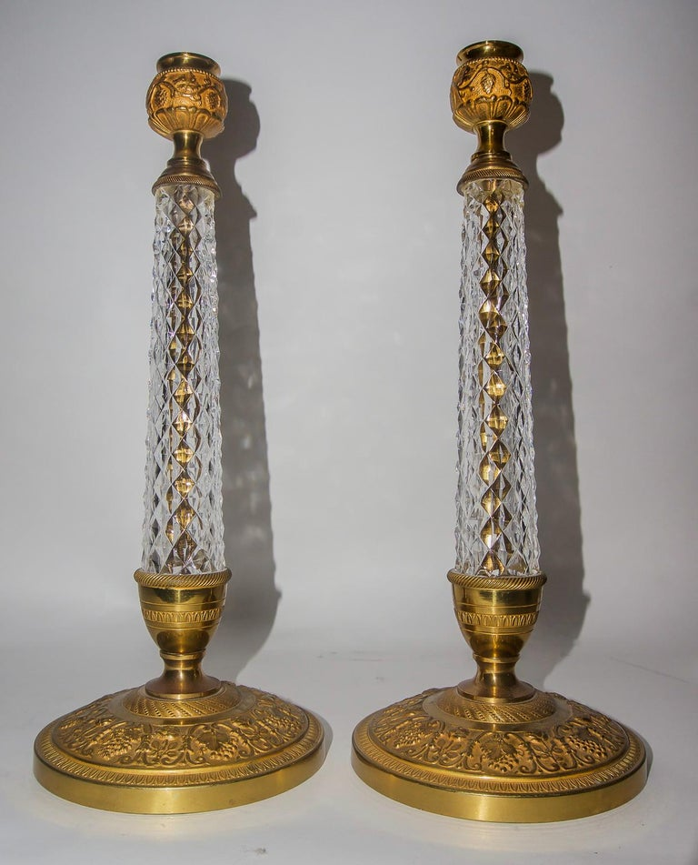 Cast Pair of Bronze and Crystal Candlesticks For Sale