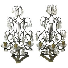 Pair of Bronze and Crystal Lyre Candelabras