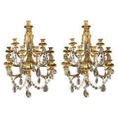 Pair of Bronze and Crystal Sconces Signed by Paul Garnier