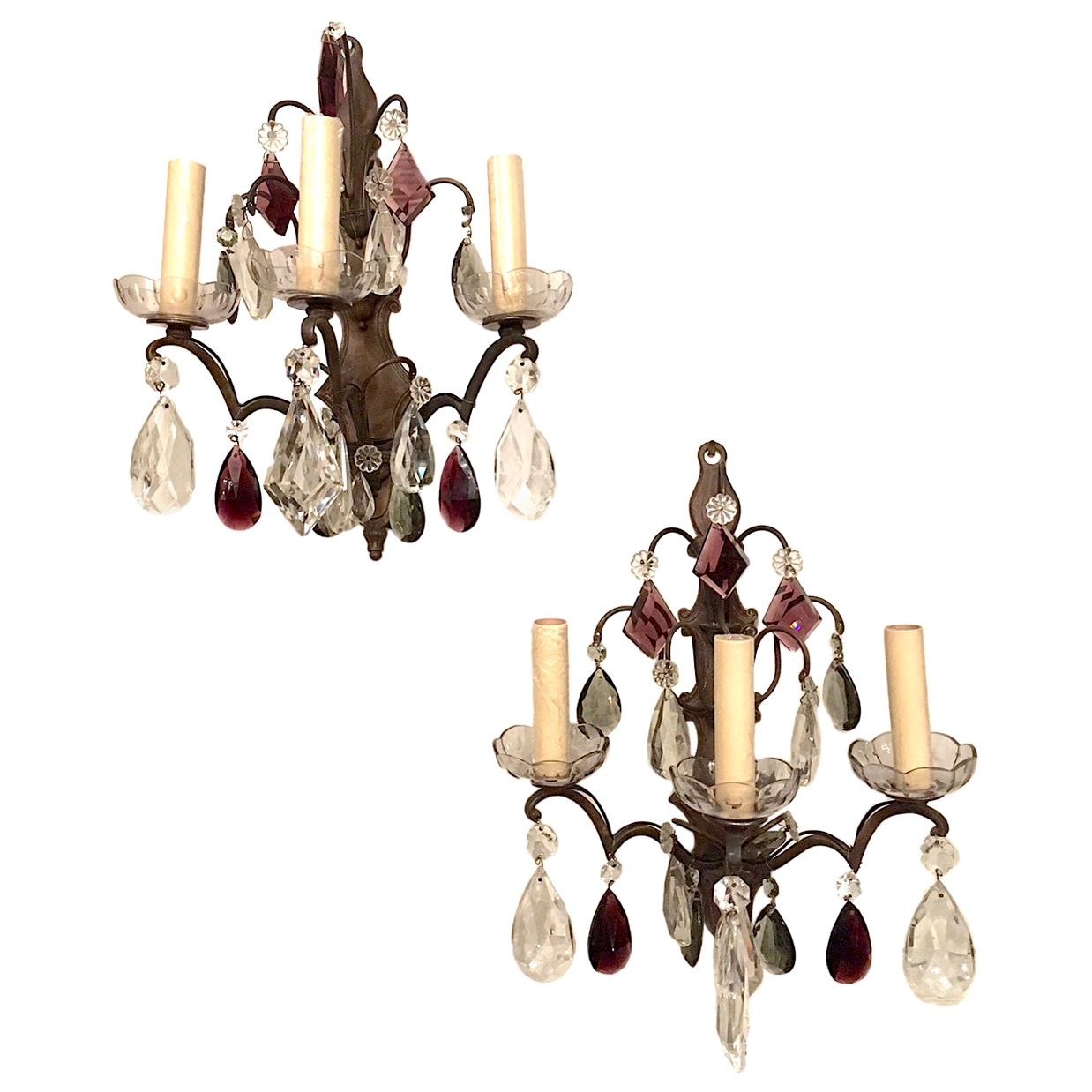 Pair of Bronze and Crystal Sconces