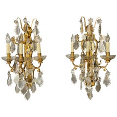 Pair of Bronze and Crystal Wall Sconces or Lights, 3-Light