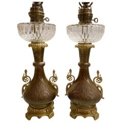 Pair of Bronze and Cut Glass Table Lamps