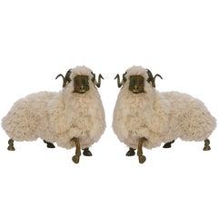 Pair of Bronze and Fur Sheep