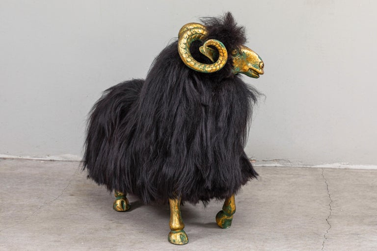 French Pair of Bronze and Fur Sheep Sculptures For Sale