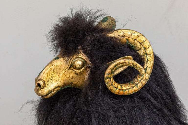 Late 20th Century Pair of Bronze and Fur Sheep Sculptures For Sale