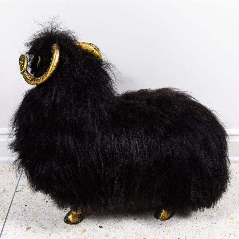 Pair of Bronze and Fur Sheep Sculptures For Sale 4