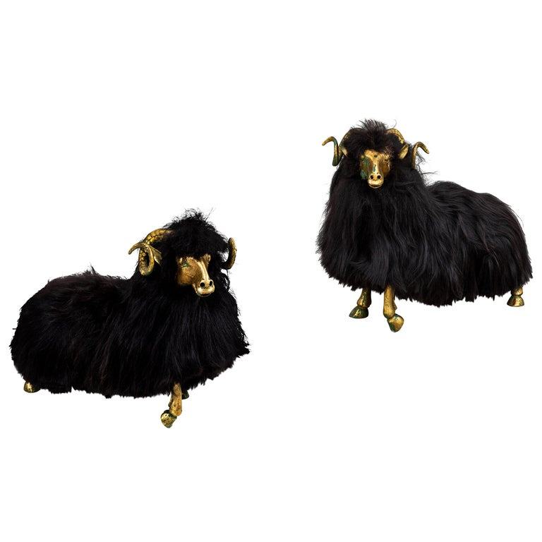 Pair of Bronze and Fur Sheep Sculptures For Sale