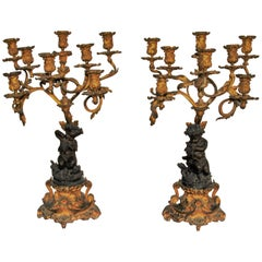 Pair of Bronze and Gilt-Bronze Candelabra Louis XV Style, Mid-19th Century