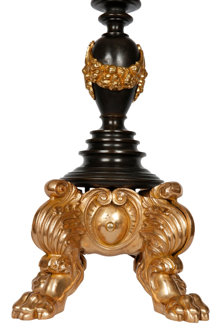 Pair of Bronze and Gilt Standing Lamps For Sale 1