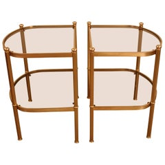 Pair of Bronze and Glass End Tables
