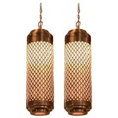 Pair of Bronze and Glass Perforated Pendant Lights, Morocco, Contemporary